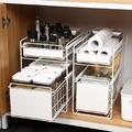 厨房下水槽置物架上方伸缩抽屉可推拉家用大全厨具的水槽边收纳架