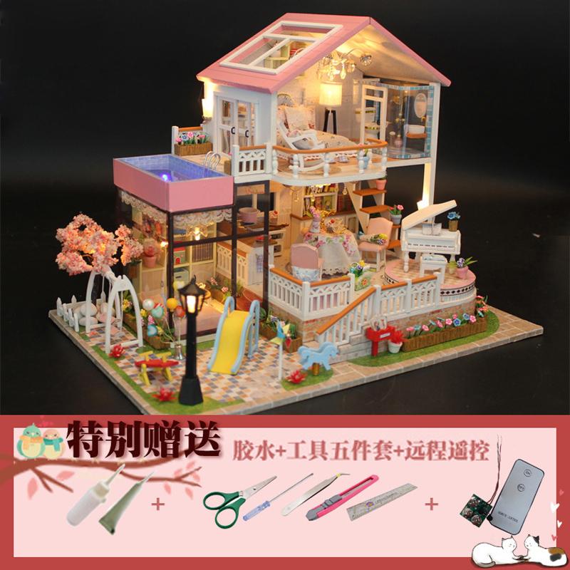 diy小屋手工创意制作公主女生木质拼装房子自制模型豪华别墅超大