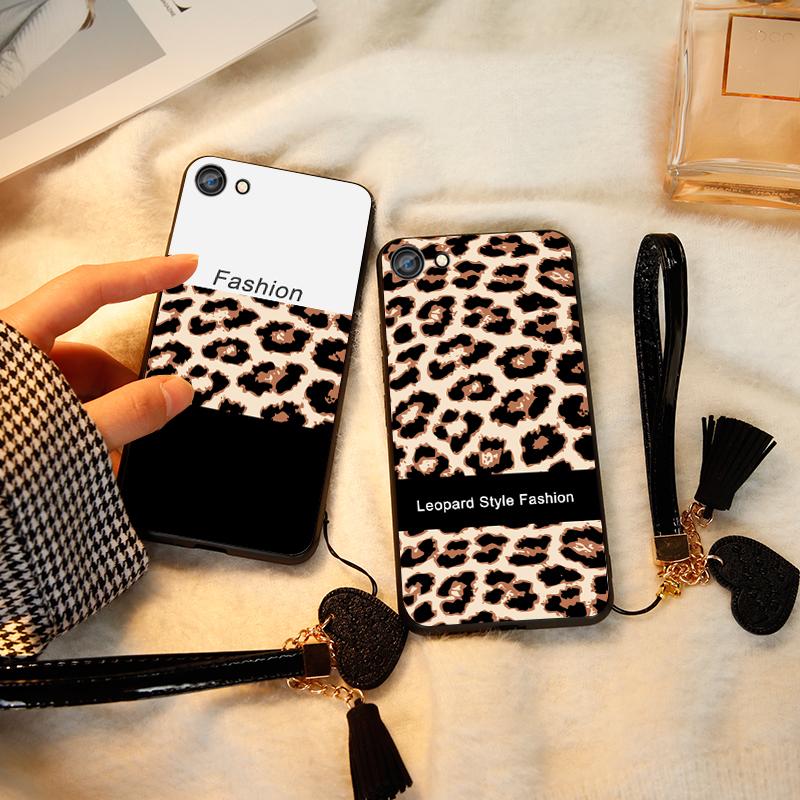 豹纹oppor9s手机壳r9女款oppoa59s玻璃全包r9splus硅胶a57热销2件假一赔十