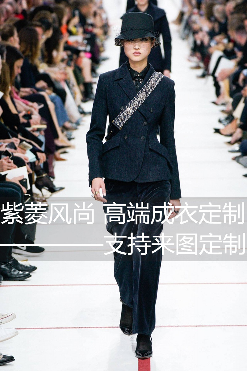 Ziling fashion custom-made European and American show show the same slim fitting wool dress + Velvet Pants