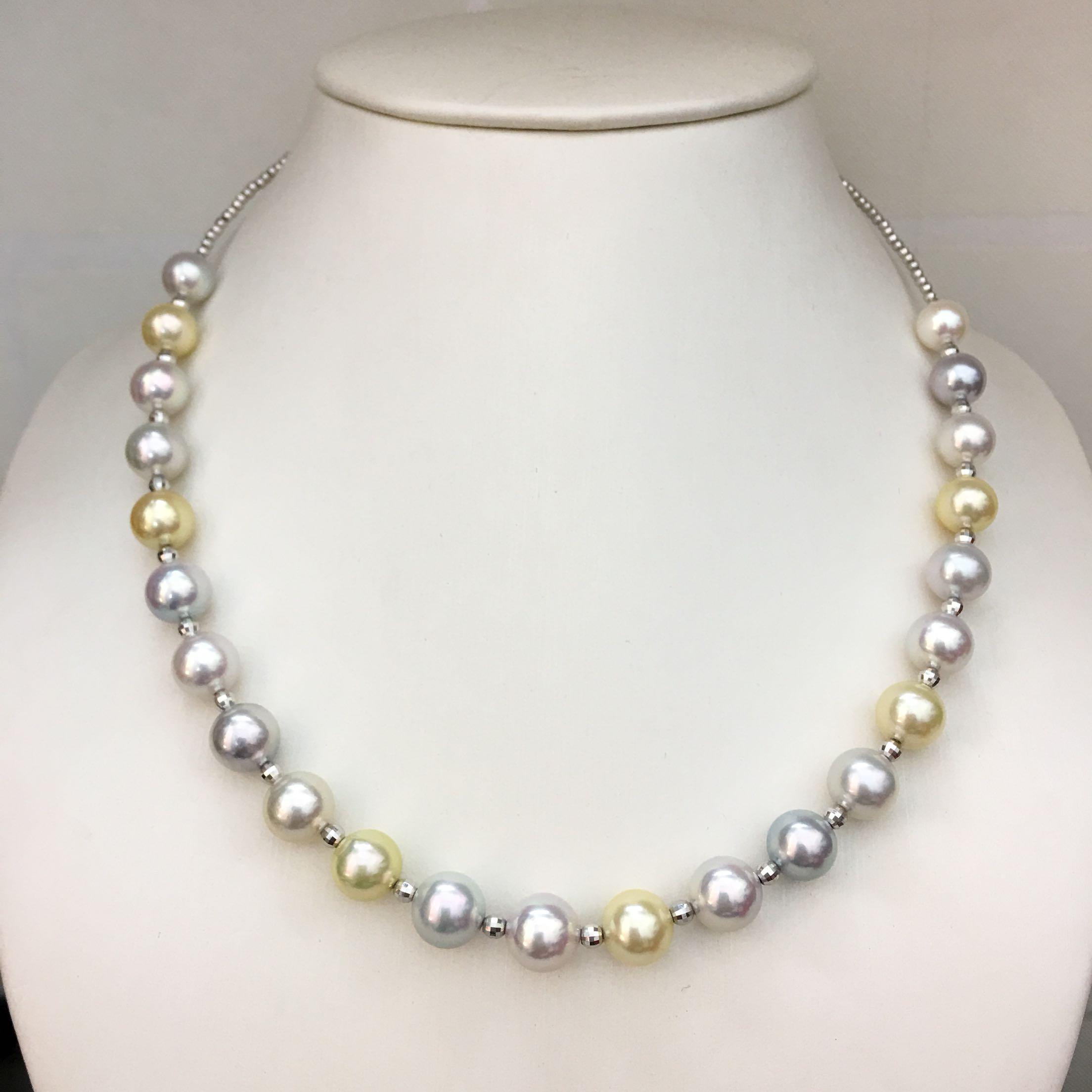 露希珠宝||18k进口项圈 日本工艺 akoya海珠彩色 颜色超美 高品质
