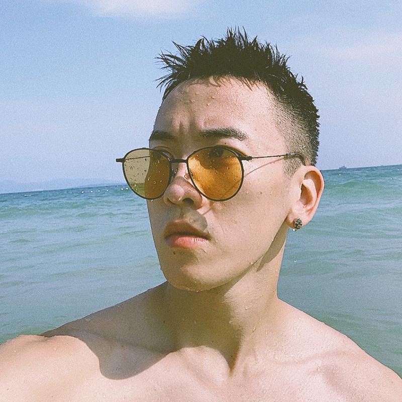 原宿复古小圆框男士墨镜韩版时尚潮人海边沙滩渡假近视太阳眼镜女(非品牌)