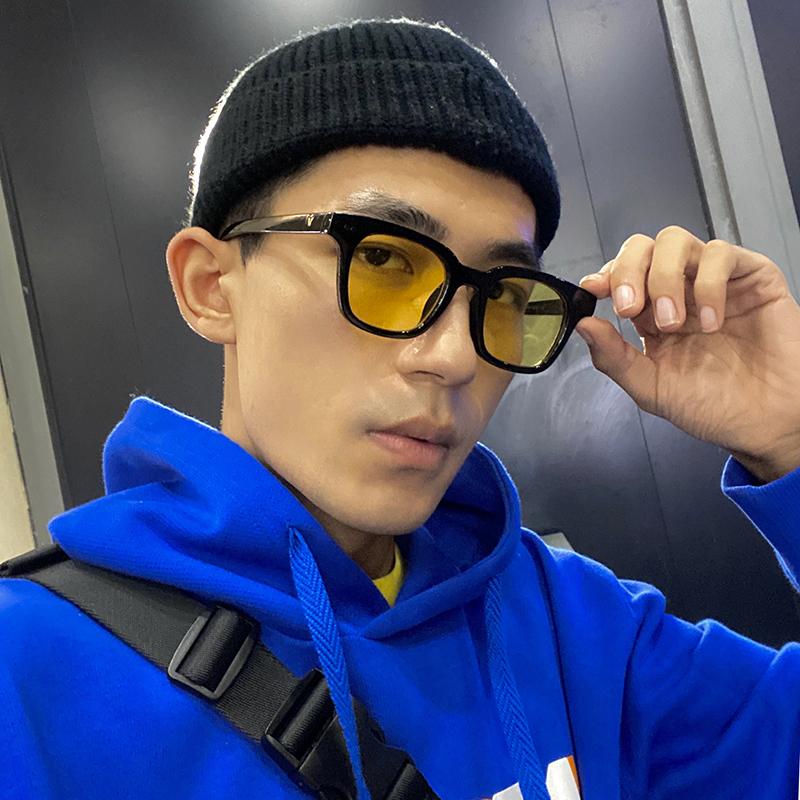 日系复古黄色墨镜男士潮搭街拍凹造型偏光防紫外线配近视太阳镜女
