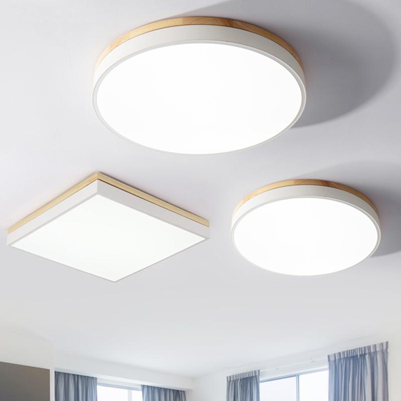 限1000张券卧室吸顶灯北欧暖光原木过道灯具简约阳台房间led圆形超薄客厅灯