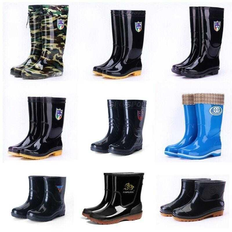 Youth water shoes rain shoes rain boots male students water boots Korean version work agricultural womens low waist with wool plastic shoes
