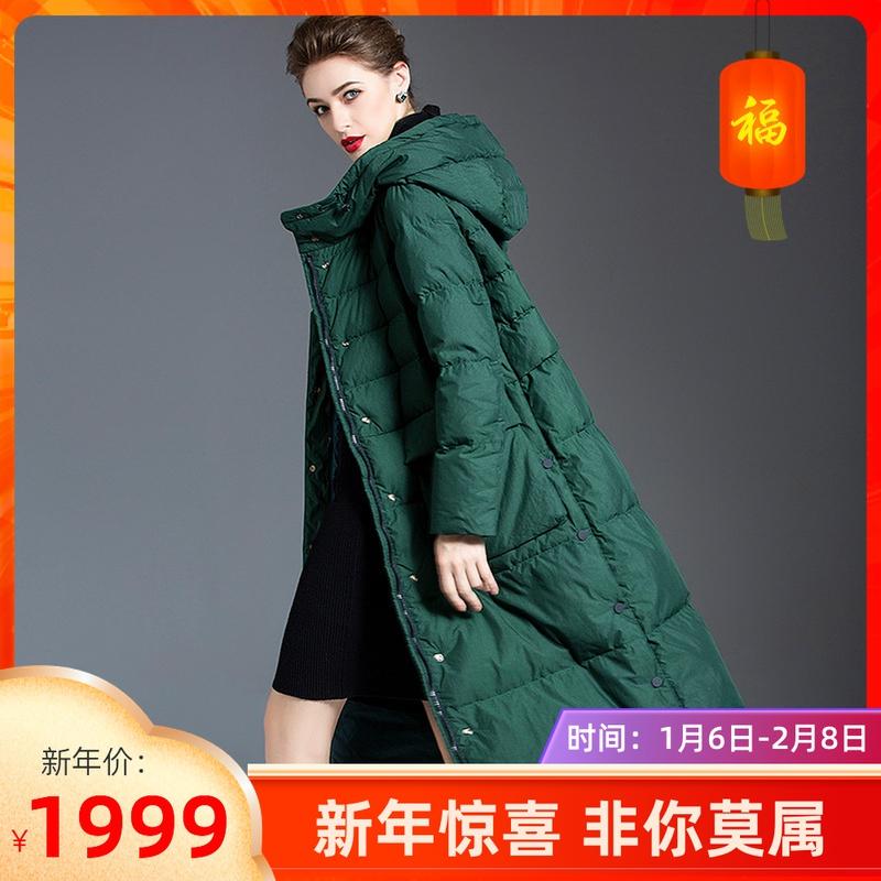 2020冬季新款女装正品代购国内宽松中长款过膝羽绒服外套玛丝菲尔
