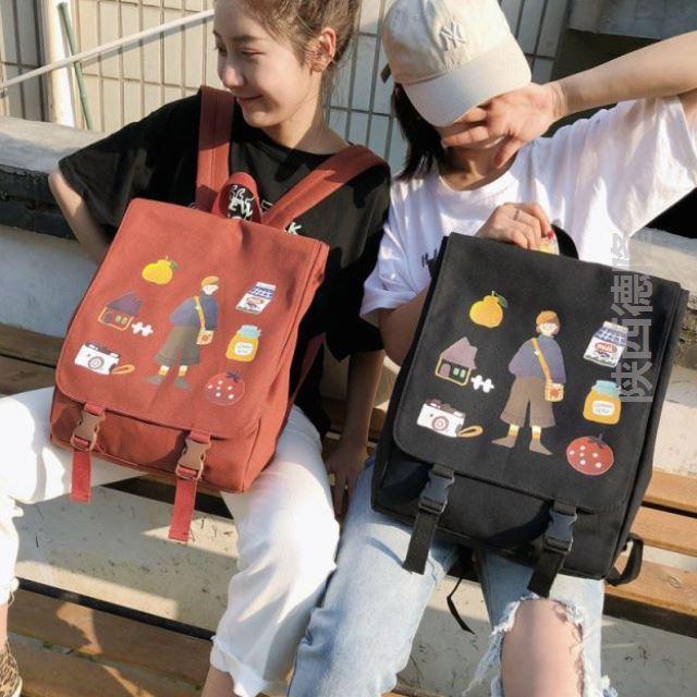 可爱风感书包大学生女大容量isn古着少女韩版高中背包日系双肩包