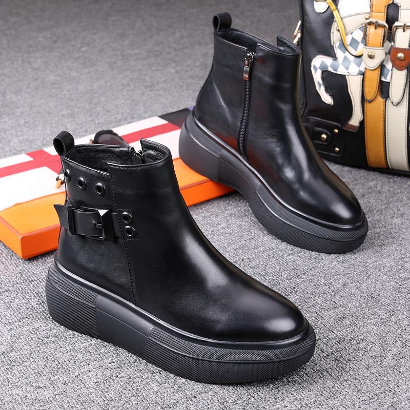 马丁靴女英伦风2020秋冬季新款女鞋真皮厚底增高休闲松糕百搭短靴