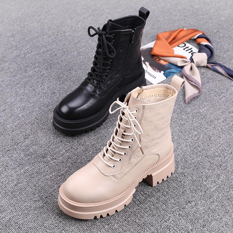 马丁靴女英伦风2020欧洲站冬季新款女鞋真皮厚底粗跟百搭时尚短靴