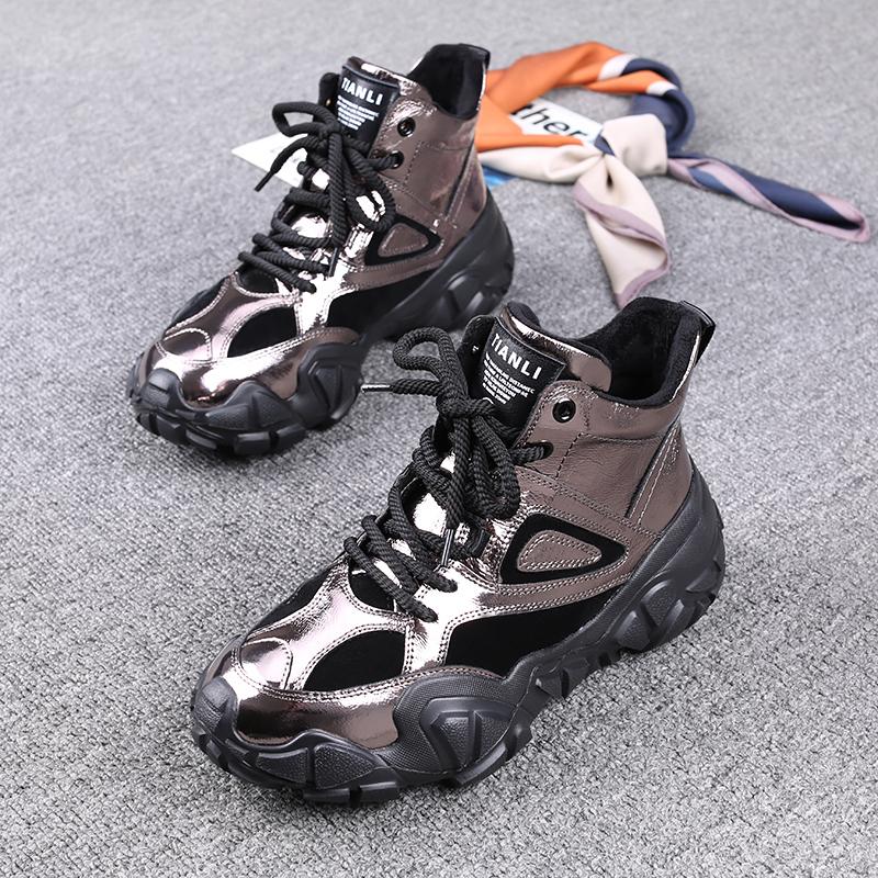 欧洲站短靴2020秋冬季新款女鞋真皮厚底加绒百搭休闲马丁靴ins潮