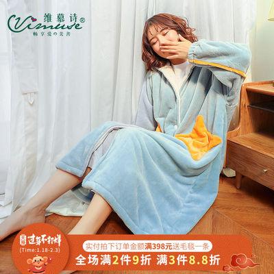 珊瑚绒睡袍女秋冬星星长款浴袍加厚保暖可爱睡衣女冬法兰绒家居服
