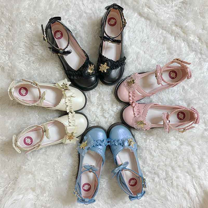[in stock] Lolita original Star wish muffin bottom bow Lolita round head student shoes