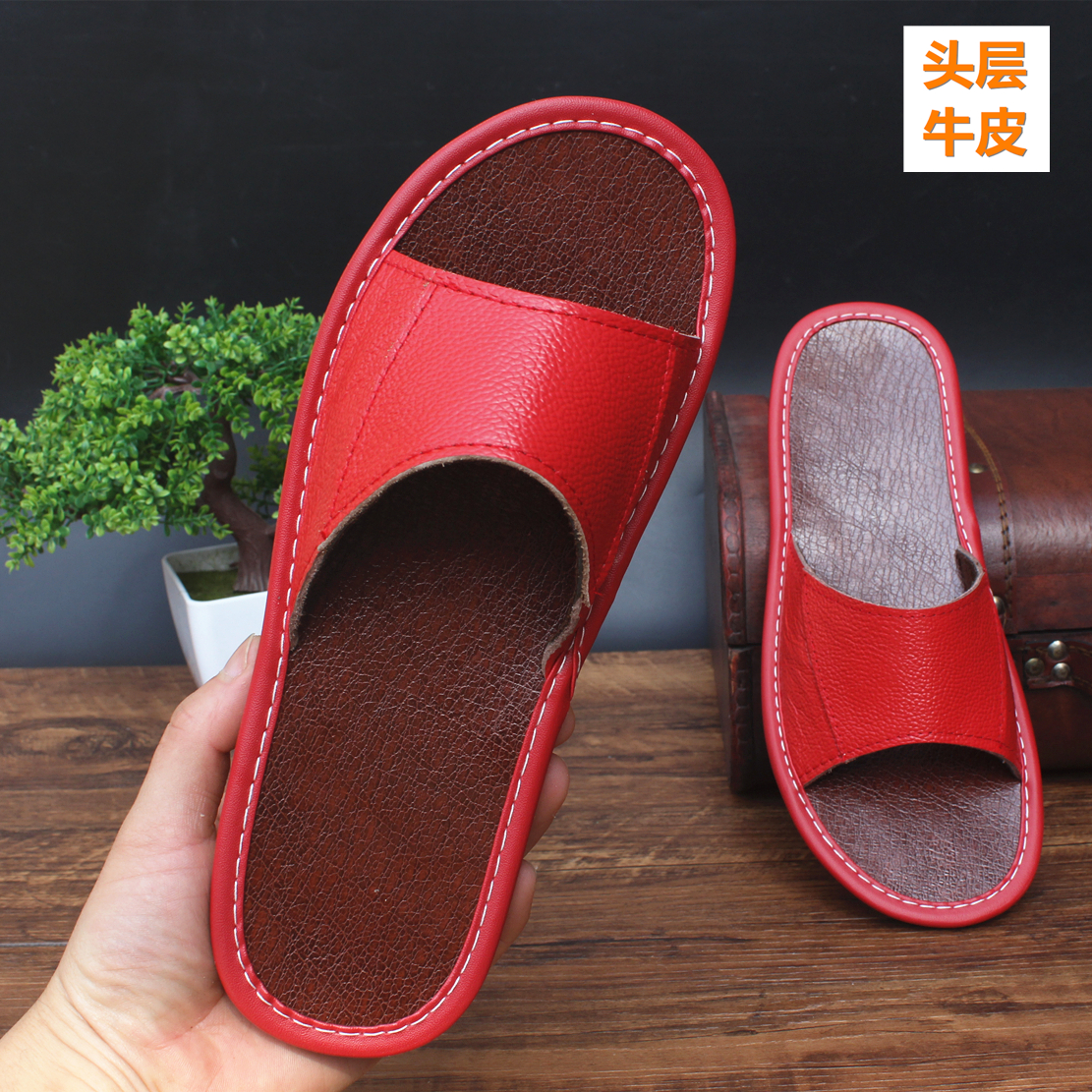 Leather [new] mens home leather through head rubber bottom womens floor anti slip soft bottom slippers in spring and summer