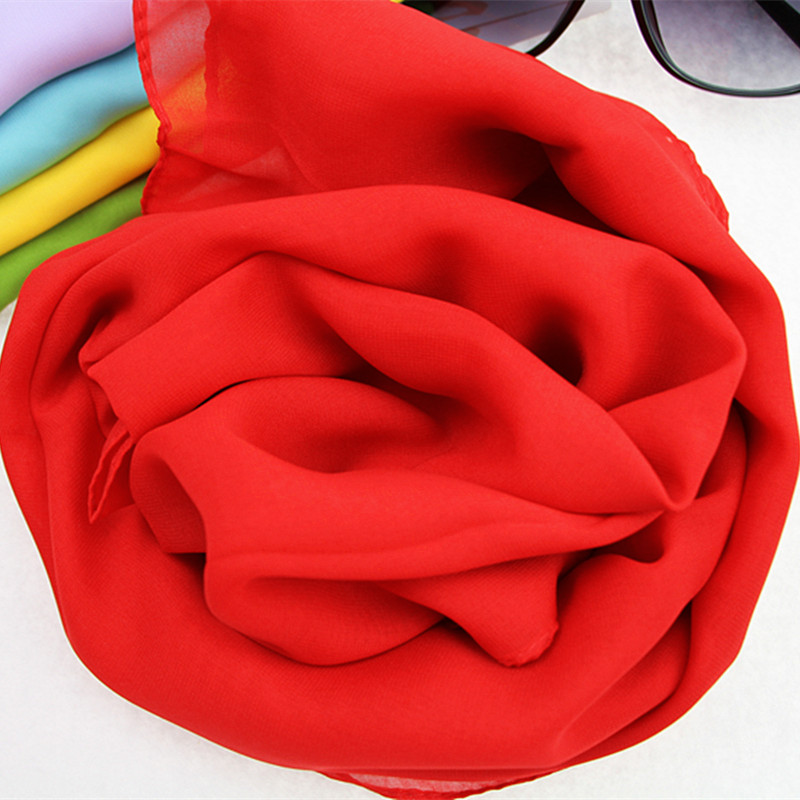 Solid red chiffon dance scarves womens long and versatile sunscreen China red thin scarf annual meeting scarf