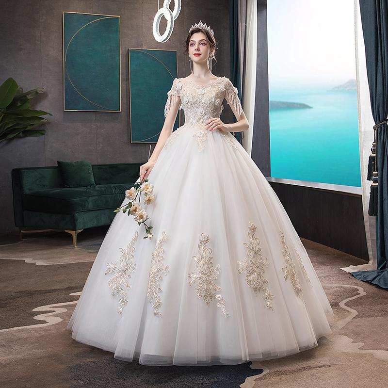 婚纱礼服2020新款新娘一字肩显瘦赫本星空森系超仙梦幻网红拖尾图片
