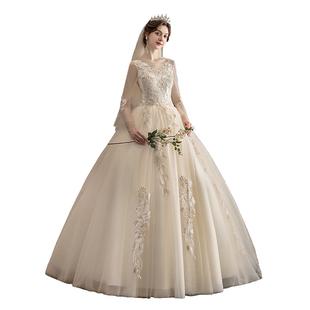 主婚紗2020新款新娘顯瘦香檳色森系一字肩長袖齊地秋冬夢幻輕紗