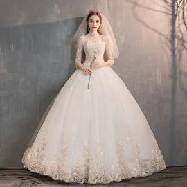 轻婚纱礼服2020新款气质拖尾新娘一字肩长袖显瘦齐地森系主纱秋冬
