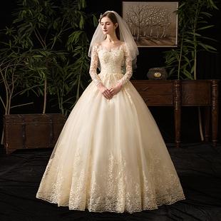 輕主婚紗2020新款新娘長袖香檳色拖尾奢華氣質赫本超仙簡約齊地女