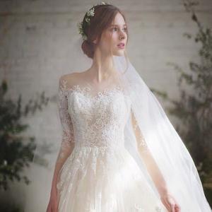 轻婚纱礼服2021春季新款新娘法式齐地显瘦气质修身拖尾一字肩主纱