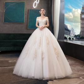 主婚纱2020新款新娘V领齐地裙宫廷奢华网红抖音显瘦森系一字肩女图片