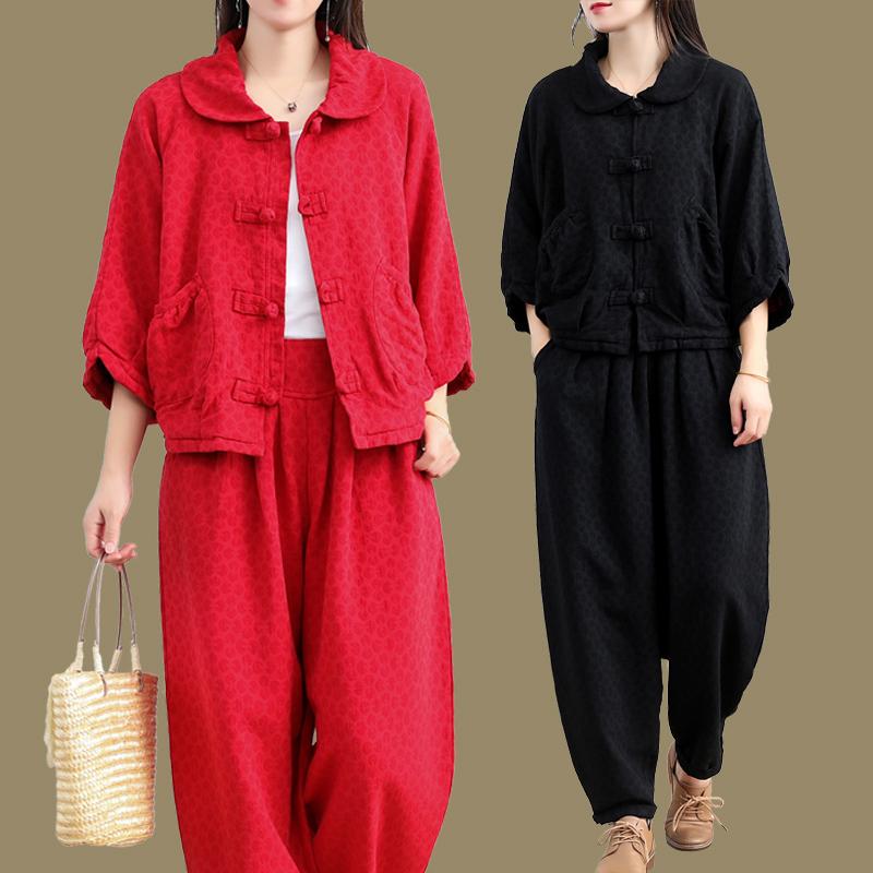 秋装新款民族风棉麻灯笼裤休闲套装时尚妈妈短外套肥腿裤两件套女