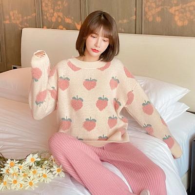 小桃子软绵绵睡衣女秋冬珊瑚绒加厚加绒可爱甜美家居服套装可外穿