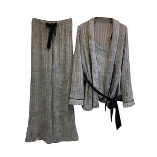 雪爾絨珊瑚絨睡衣女冬季三件套胖MM寬鬆大碼家居服性感套裝春秋季