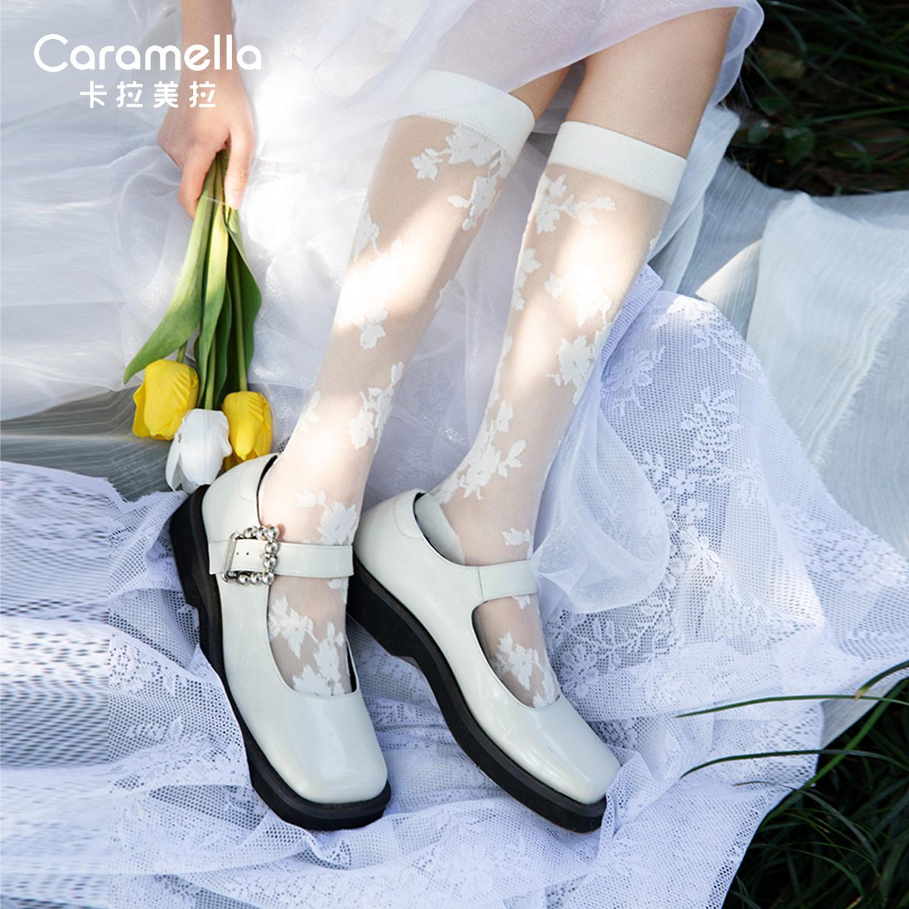 caramella玻璃丝袜子女黑丝洛丽塔袜子jk袜子日系可爱长筒袜白丝