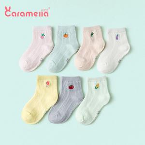 caramella春夏男女童袜子春秋纯色短棉袜婴儿袜网袜薄袜宝宝船袜