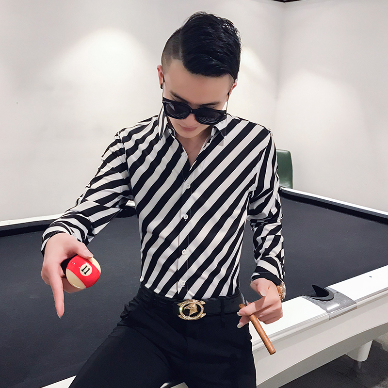 2020春季新款男士社会小伙条纹修身长袖衬衫XZ-301A-BK002-P55