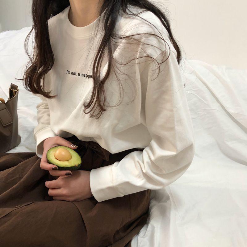 2018新款长袖t恤上衣服韩版白色宽松打底衫女装chic港味早秋慵懒