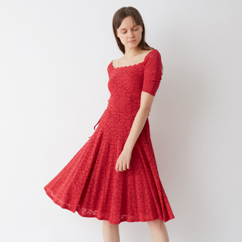 snidel 2018春夏新品  拼接腰部系带复古连衣裙 SWFO181089