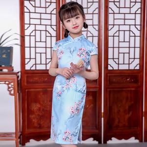 2020樱花儿童旗袍夏季女童唐装汉服中国风长款丝绸中式复
