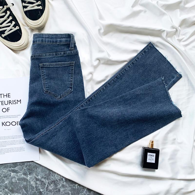 蓝色牛仔裤女直筒显瘦chic八分裤小个子宽松春装2021年新款女高腰