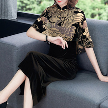 Autumn and winter 2019 mother's expensive lady's gold velvet dress female high-end foreign style dress is more than forty-five years old and elegant