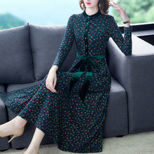 Your lady's floral dress women's dress autumn and winter long style western style high end 2019 new style temperament skirt over 40 years old