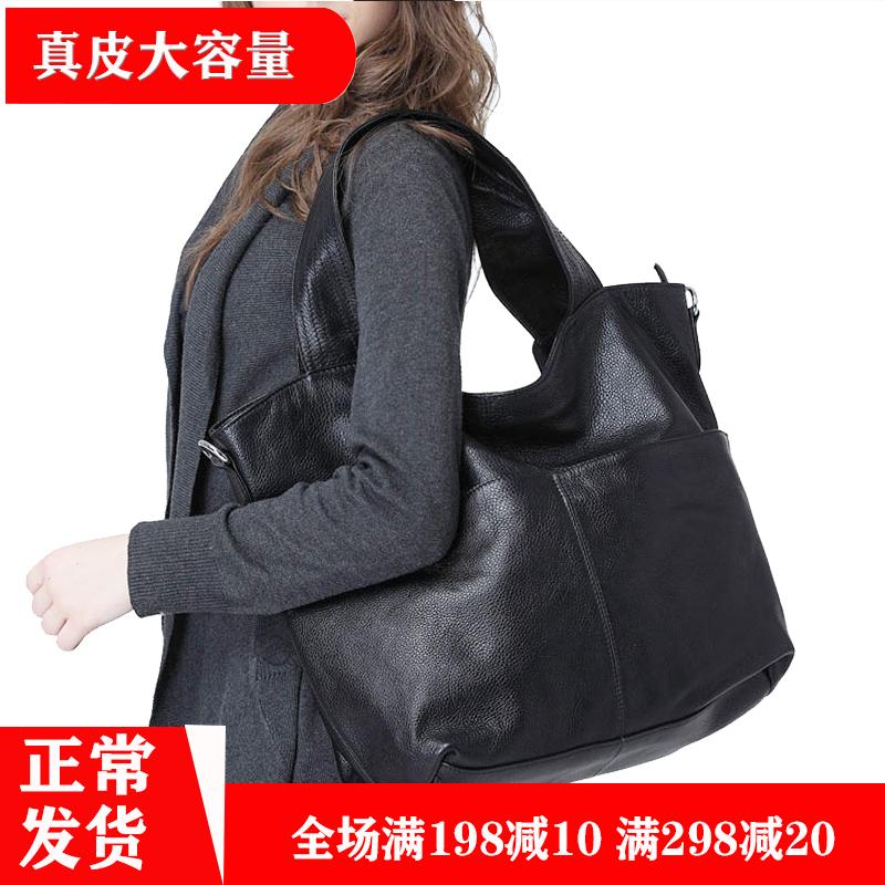 Leather womens large bag 2020 new single shoulder large capacity head leather slung leisure bucket bag wide shoulder soft leather