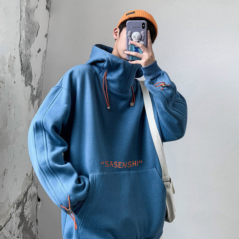 High neck Hoodie mens spring and autumn tide brand ins Hong Kong style leisure Hoodie loose trend versatile Pullover Top