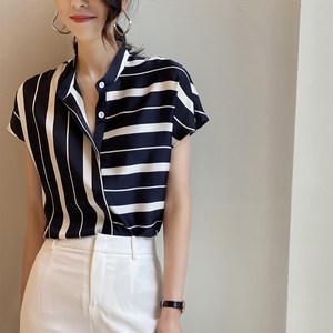 欧货不规则条纹雪纺短袖衬衫女2021春夏新款气质立领短袖显瘦上衣