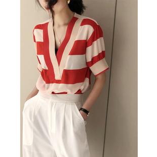 V领拼色条纹撞色薄款气质短袖雪纺衬衣女2020夏季新洋气T恤衫上衣
