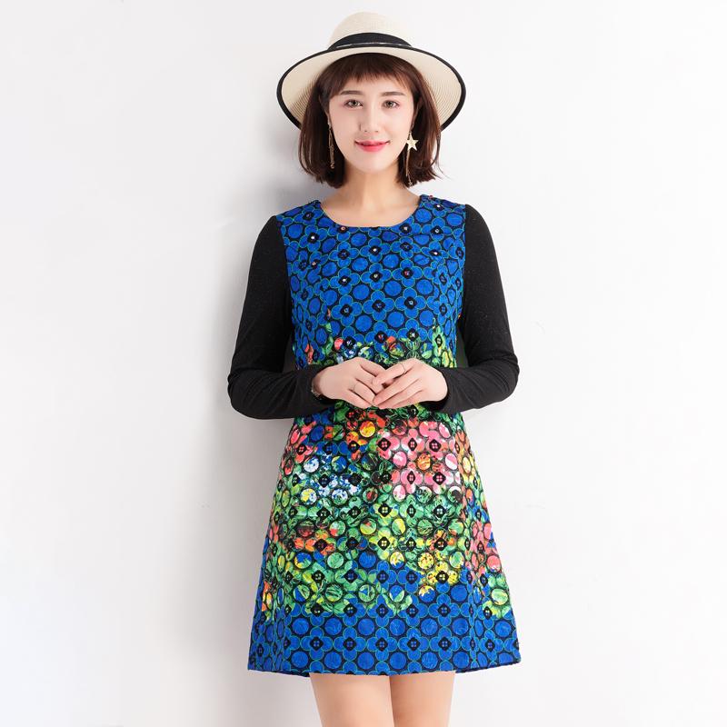 台湾品牌女装时尚修身显瘦长袖高档连衣裙 印花秋季新款F0835