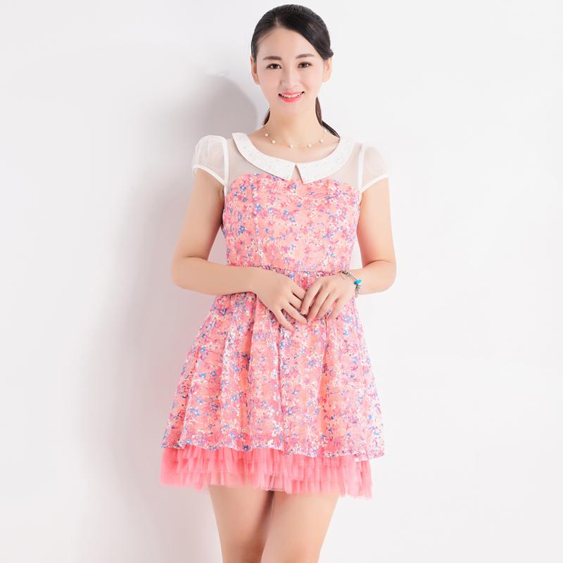 台湾品牌女装夏季新款魔婕高档蕾丝刺绣连衣裙修身减龄显年轻5399