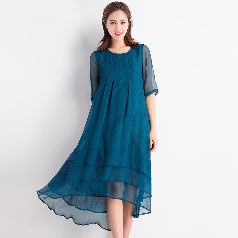 台湾品牌女装夏季新款宽松大摆连衣裙 半袖中长款时尚大气F0428