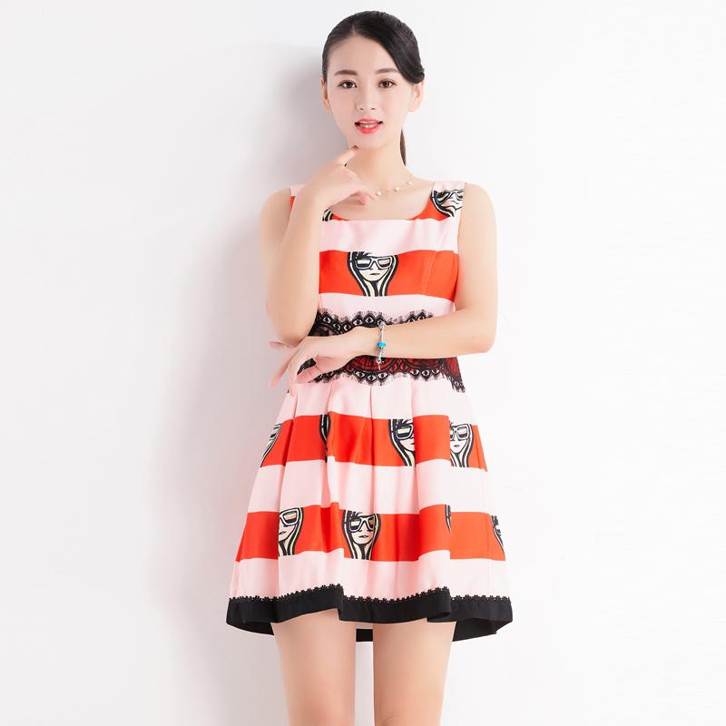台湾品牌女装魔婕人头印花无袖连衣裙条纹气质减龄 夏季新款F5414