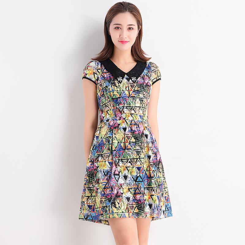 台湾品牌女装气质减龄花色靓丽网纱连衣裙修身 短袖夏季新品F2273