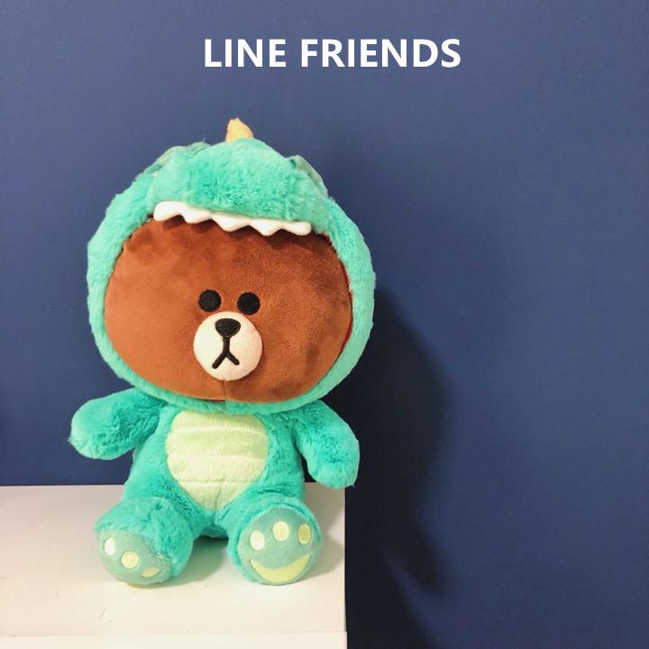 12月01日最新优惠韩国正品LINE FRIENDS恐龙小猪长颈鹿正版布朗熊公仔毛绒玩具玩偶