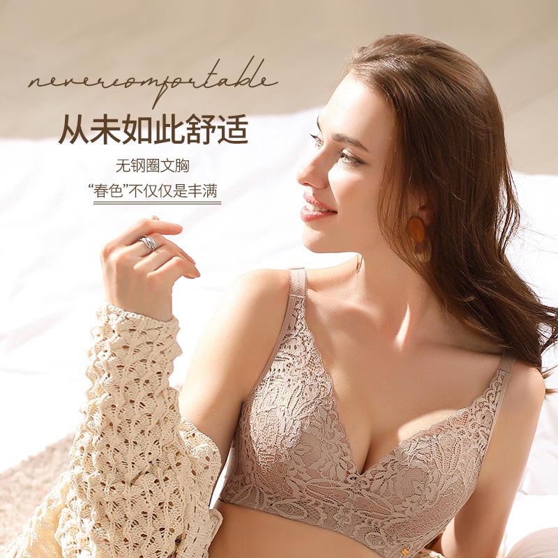 雪妮芳新品内衣女无钢圈薄款BC杯性感蕾丝上托收副乳防下垂文胸