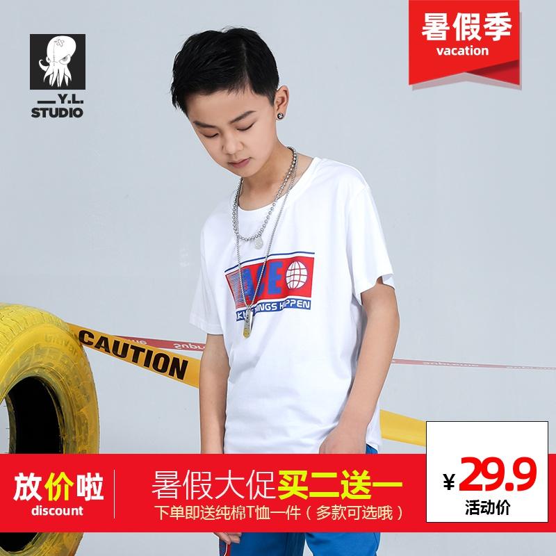 男童纯色印花纯棉T恤速干运动风格短袖夏季宽松新款儿童半袖上衣