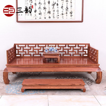Mahogany Rohan Bed solid wood two-piece living room pear wood hedgehog Rosewood new Chinese simple tenon and meditation Zen sleep collapse