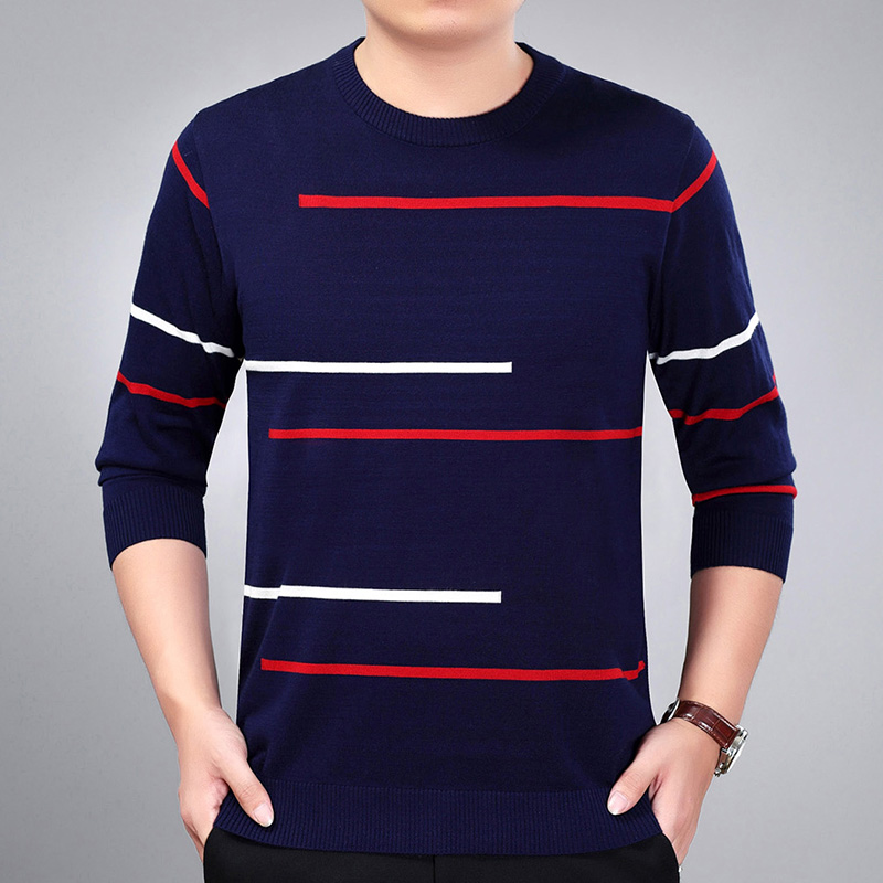 Youth leisure jacquard sweater autumn mercerized wool thin sweater mens simple round neck Pullover bottomed sweater